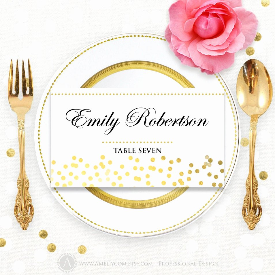 Place Cards Template Free Lovely Printable Place Card Template Folded Tent Cards Glam Gold