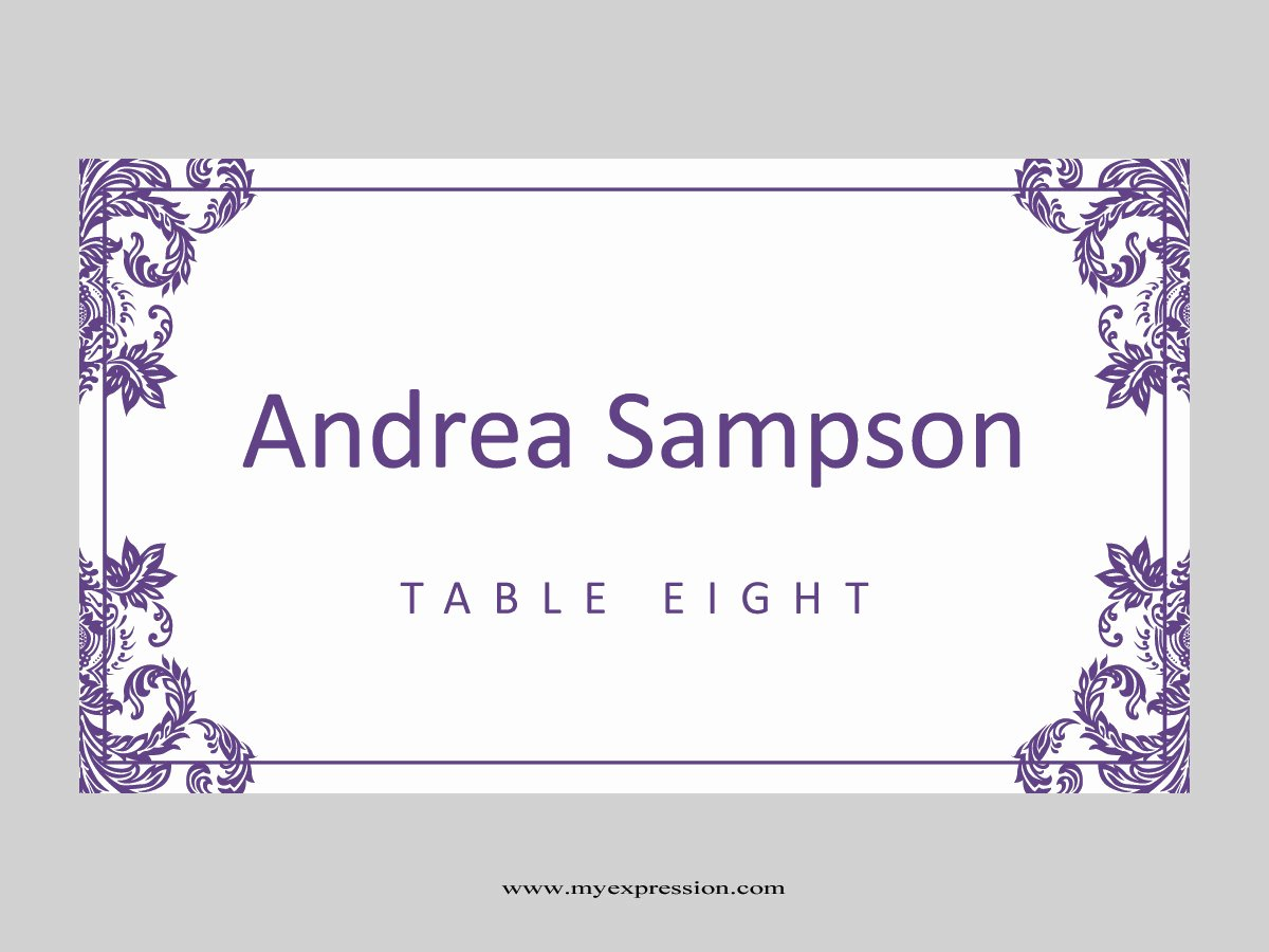 Place Cards Template Free Lovely Wedding Place Cards Template Folded Purple Damask