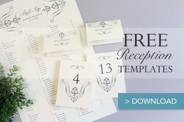 Placement Card Templates Free Best Of Free Printable Wedding Reception Templates