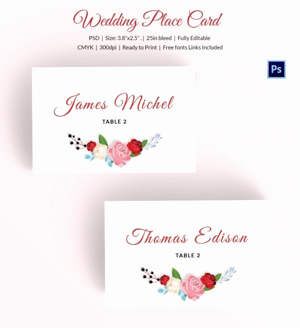 Placement Card Templates Free New 25 Wedding Place Card Templates