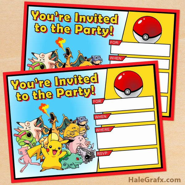 Pokemon Birthday Card Template Inspirational Free Printable Pokémon Birthday Invitation