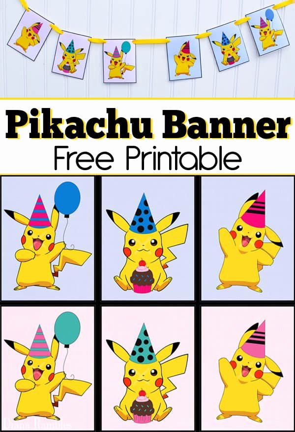 Pokemon Birthday Card Template Luxury Free Pikachu Party Banner Printable for A Pokemon Party