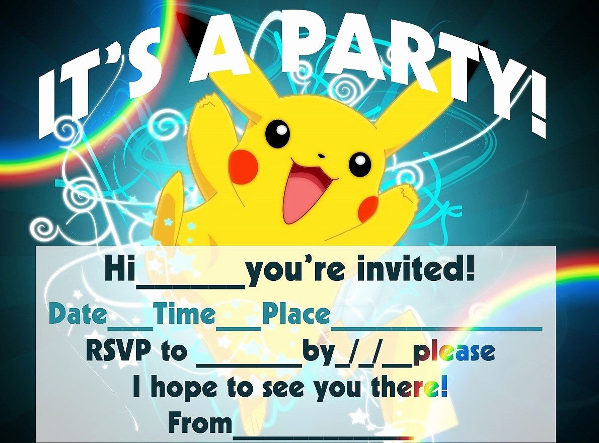 Pokemon Birthday Card Template Luxury Pokemon Birthday Invitation Templates Free
