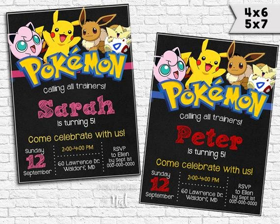 Pokemon Card Birthday Invitation Awesome Pokemon Birthday Invitation Kids Invitation Boys Girls