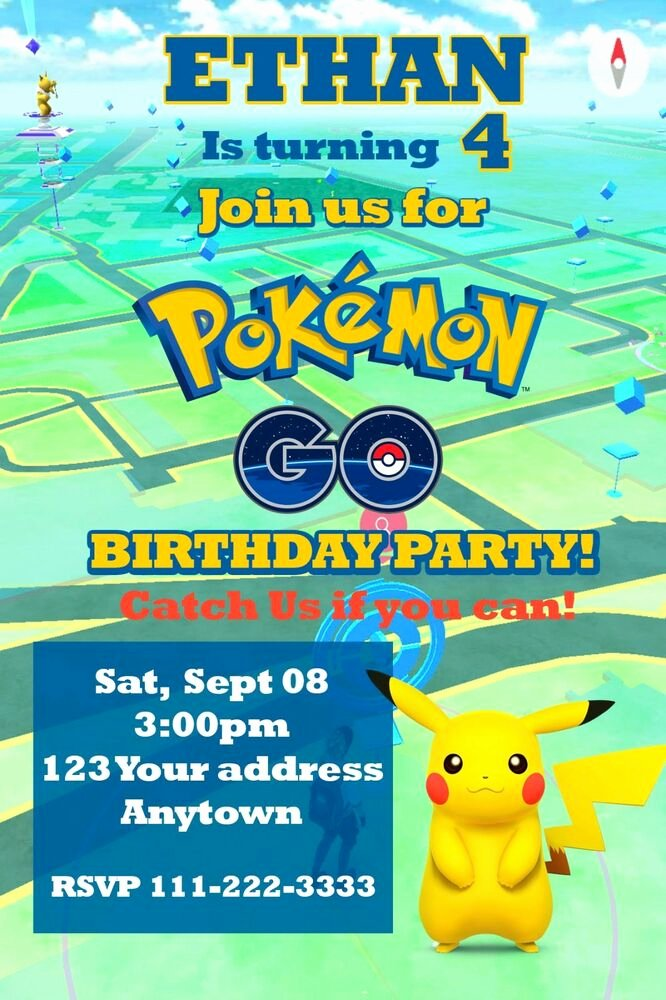 Pokemon Card Birthday Invitation Elegant Pokemon Go Pikachu Birthday Party Invitations Personalized
