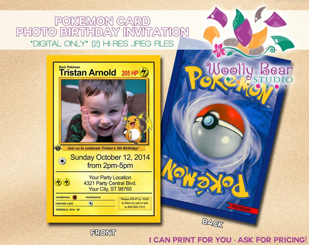 Pokemon Card Birthday Invitation Elegant Printable Pokemon Card Invitation by