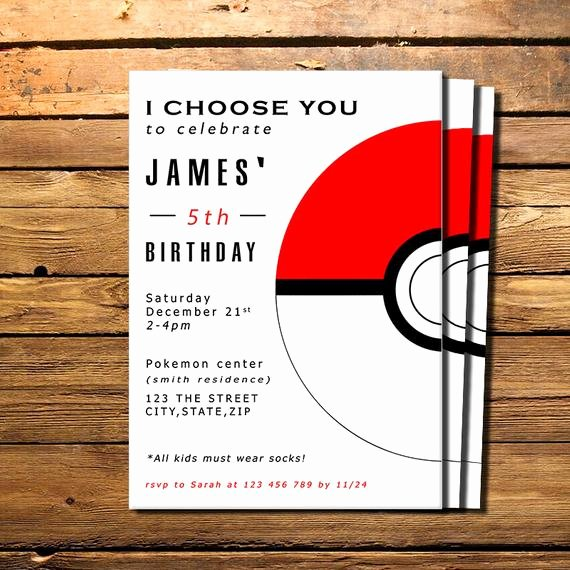 Pokemon Card Birthday Invitation Fresh Pokemon Invitation Pokemon Birthday by Happycolorsdesign