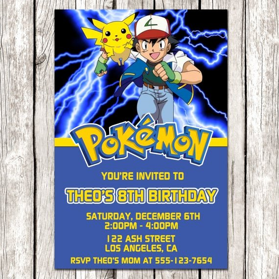 Pokemon Card Birthday Invitation Fresh Pokemon Invitation Pokemon Birthday Party Diy Printable