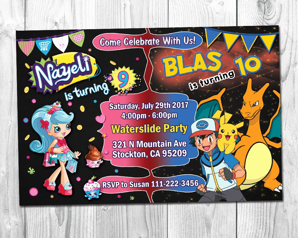 Pokemon Card Birthday Invitation Fresh Shopkins & Pokemon Birthday Party Invitation Joint