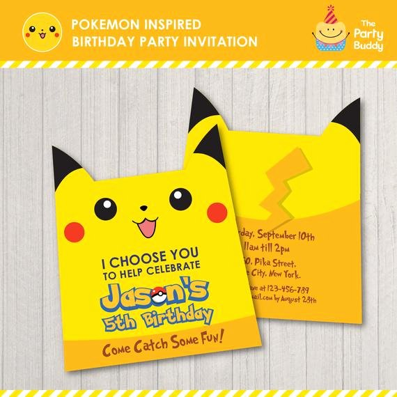 Pokemon Card Birthday Invitation Lovely Pokemon Inspired Birthday Party Invitation Pikachu Character