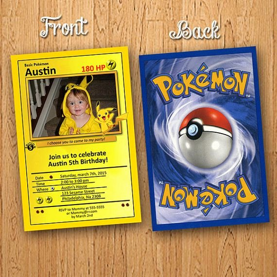 Pokemon Card Birthday Invitation Lovely Pokemon Pikachu Card Birthday Invitation Funny by