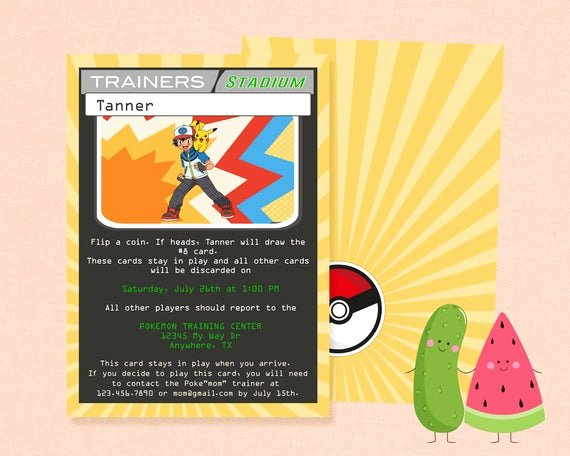 Pokemon Card Birthday Invitation New Items Similar to Pokemon Party Invitation