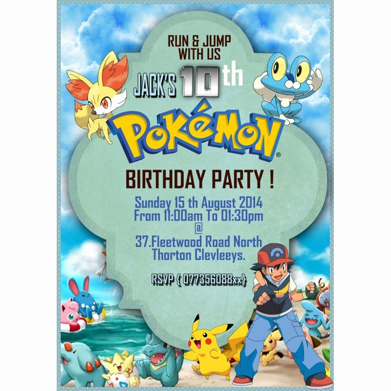 Pokemon Card Birthday Invitation New Personalize Pokemon Party Invitations Thank You Cards