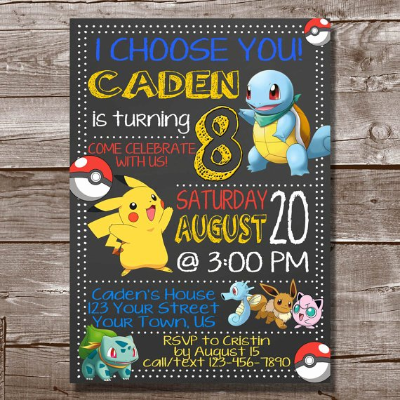 Pokemon Card Birthday Invitation New Pokemon Birthday Invitationpokemon Birthday Invitation Pokemon