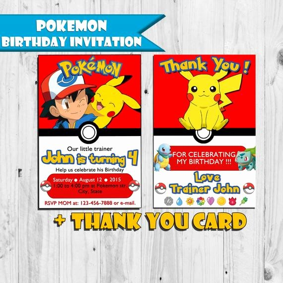 Pokemon Card Birthday Invitation Unique Pokemon Birthday Invitation Free Thank You Card by Pvartstudio