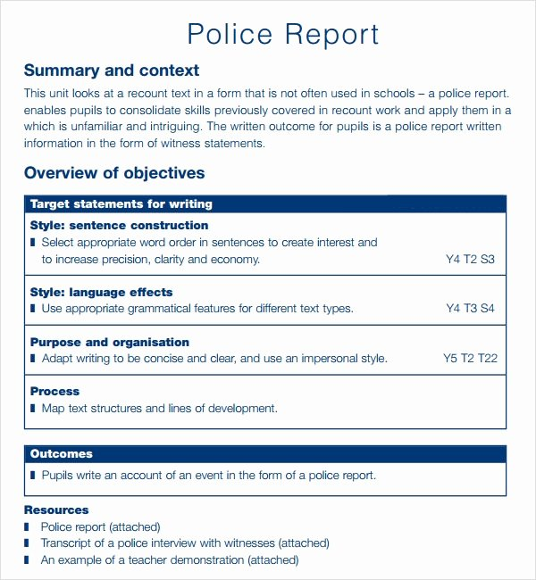 Police Arrest Report Template Awesome Sample Police Report 5 Documents In Pdf
