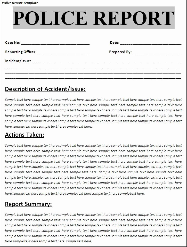 Police Arrest Report Template Beautiful Printable Sample Police Report Template form