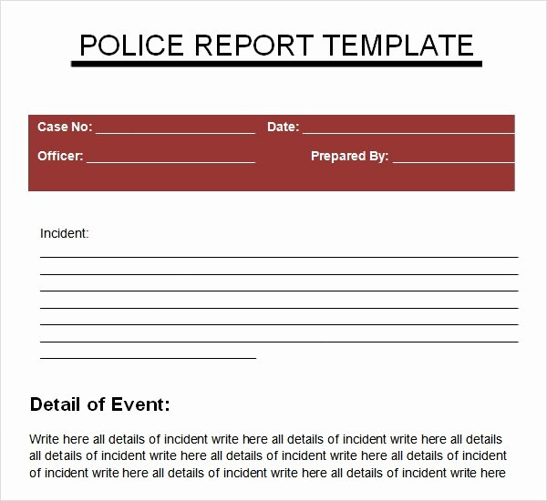 Police Arrest Report Template Best Of Sample Police Report 5 Documents In Pdf