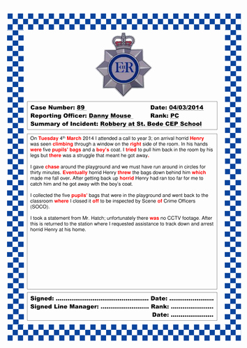 Police Arrest Report Template Fresh Police Crime Scene by Divya2004 Teaching Resources Tes
