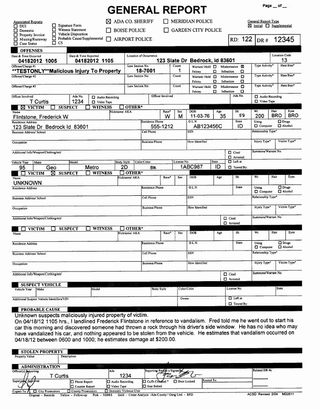 Police Arrest Report Template Luxury How Ada County Sheriff S Fice Automated Departmental