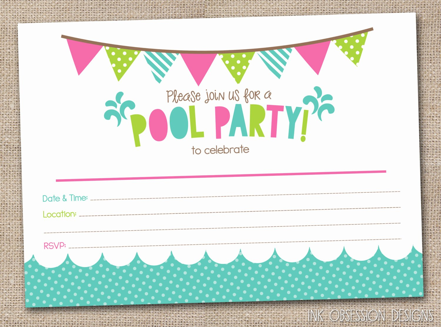 Pool Party Invitations Free Printable Awesome Girls Pool Party Printable Invitation Fill by