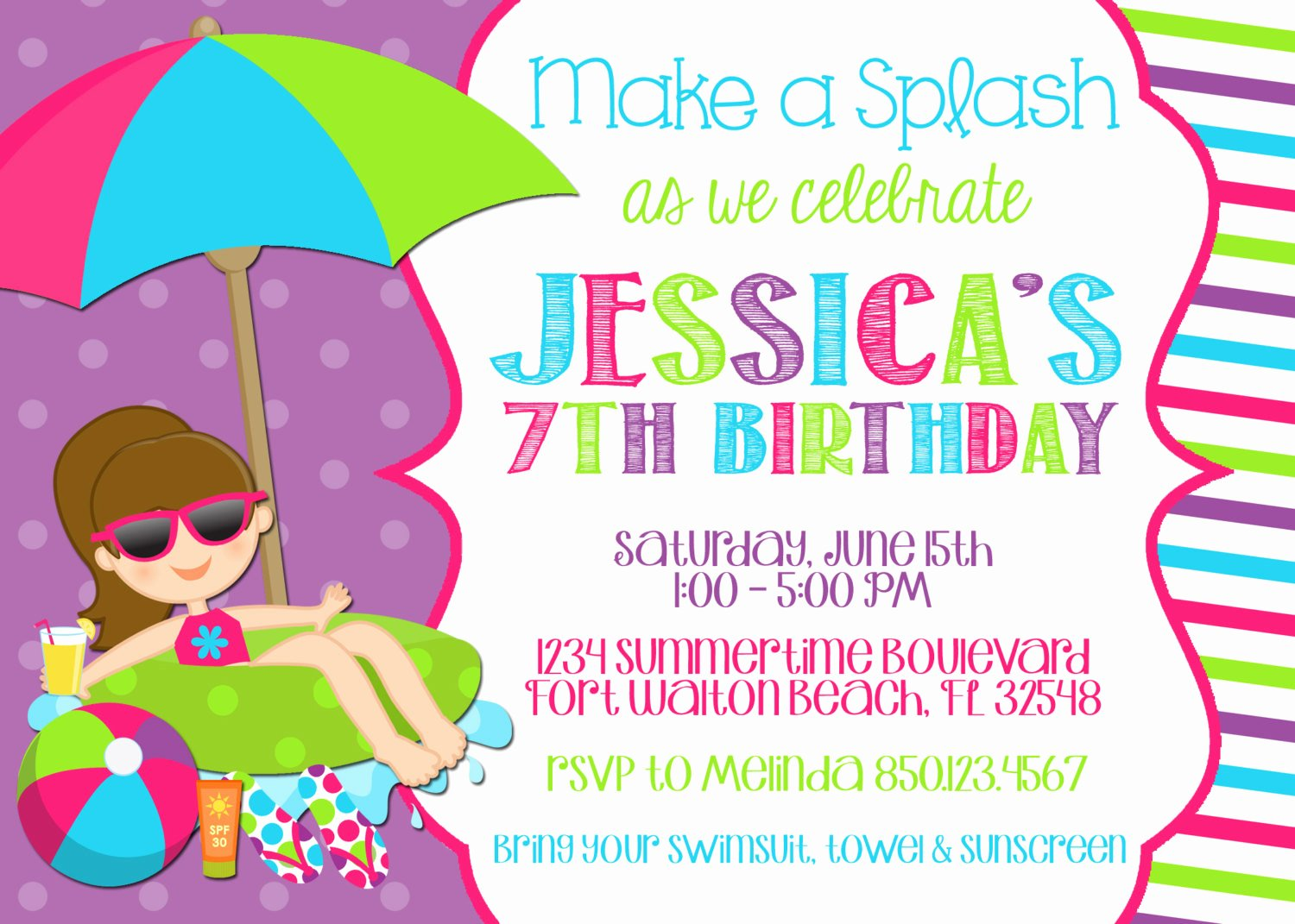 Pool Party Invitations Free Printable Awesome Swimming Pool 5x7 Invitation Girl Birthday Party Printable