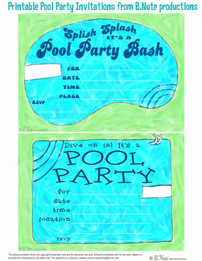 Pool Party Invitations Free Printable Beautiful Free Printable Pool Party Invitations