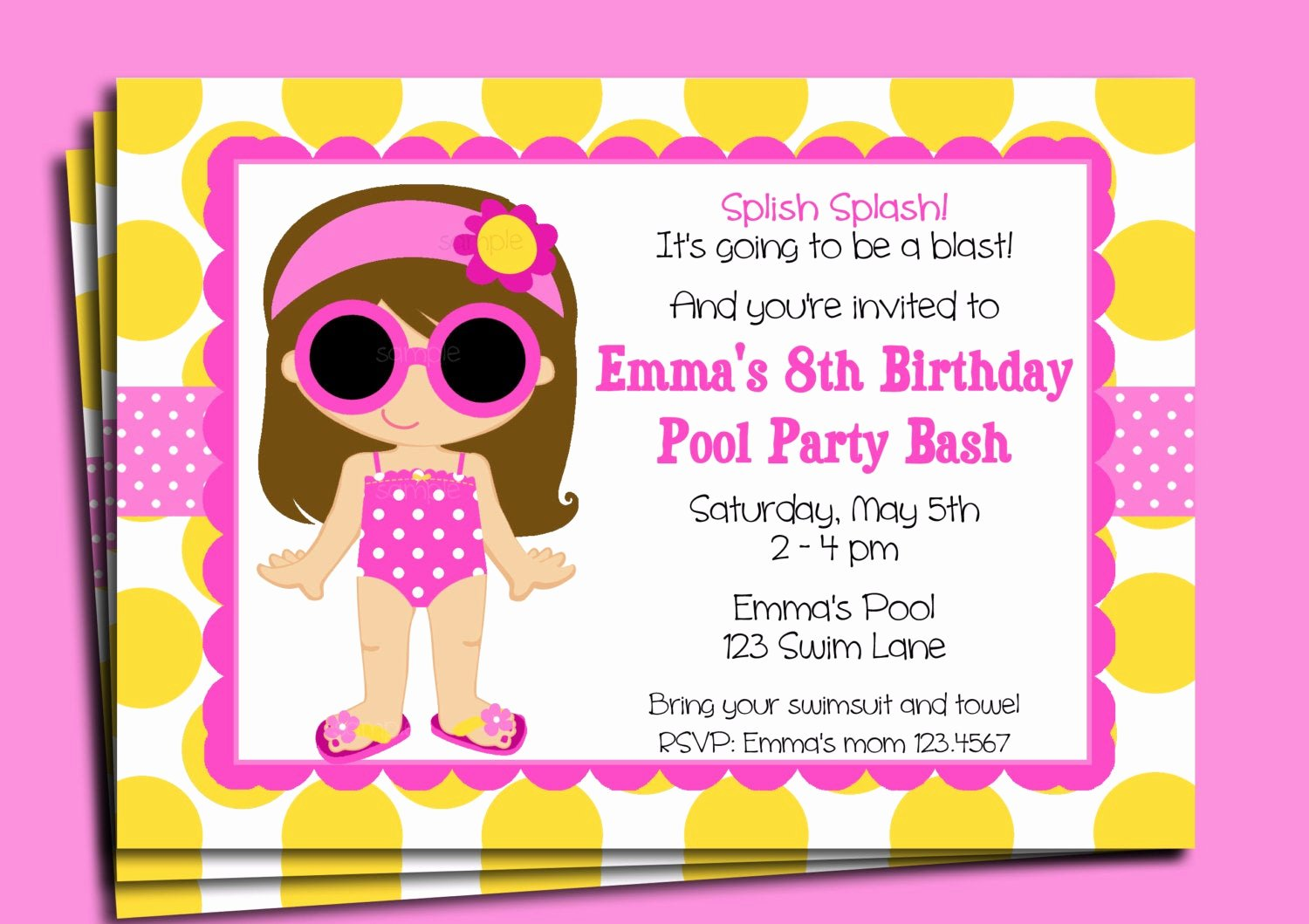 pool party invitation printable or