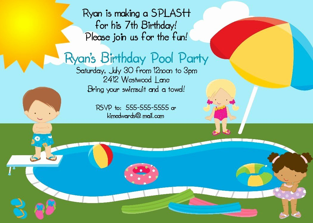 Pool Party Invitations Free Printable Luxury Pool Party Birthday Party Invitation Printable Digital File