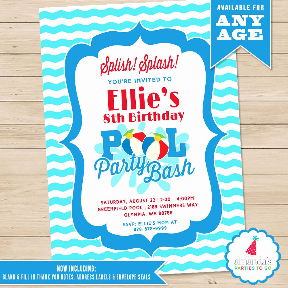 Pool Party Invitations Free Printable New Pool Party Invitation Pool Birthday Invitation Printable