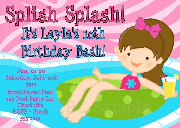 Pool Party Invitations Free Printable Unique Splish Splash Pool Party Invitations Printable or Printed