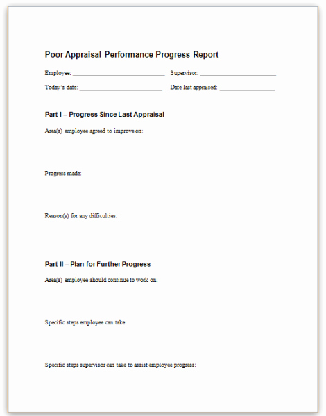 Poor Performance Review Samples Elegant form Specifications