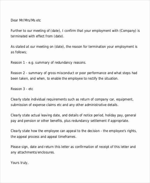 Poor Performance Review Samples Unique 9 Sample Employee Termination Letters Word Pdf Pages