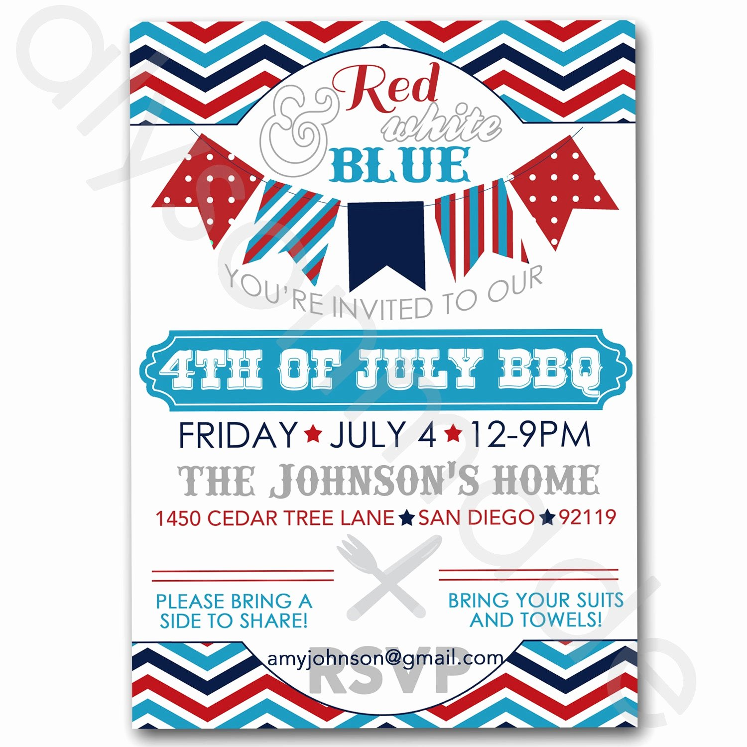 Potluck Bbq Invitation Wording Awesome July 4th Bbq Potluck Invitation Customized and Personalized