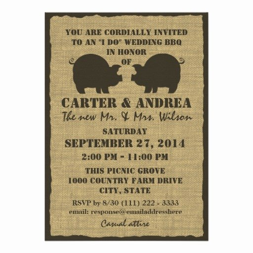 Potluck Bbq Invitation Wording Best Of Bbq Wedding Reception 5x7 Paper Invitation Card