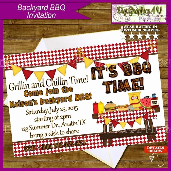 Potluck Bbq Invitation Wording Inspirational Bbq Party Invitation Backyard Potluck and by Digigraphics4u