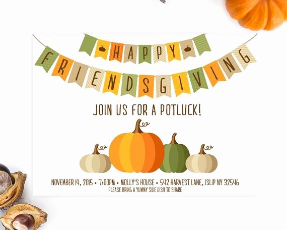 Potluck Bbq Invitation Wording Lovely Potluck Invitation Friendsgiving Thanksgiving Invitation