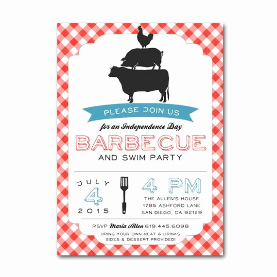 Potluck Bbq Invitation Wording Luxury July 4 Bbq Cookout Potluck Invitation Barbecue Independence