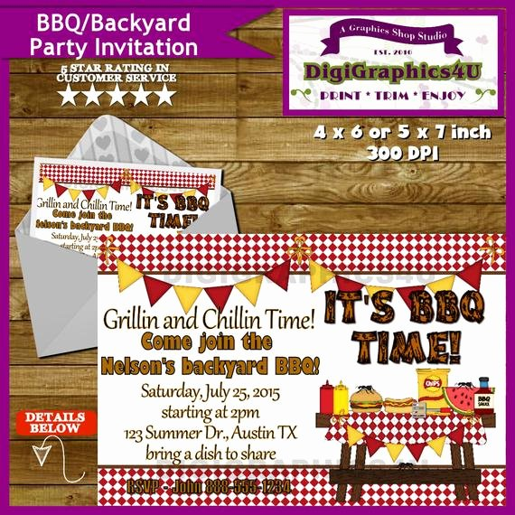 Potluck Bbq Invitation Wording New Bbq Potluck Backyard Summertime Party Invitation