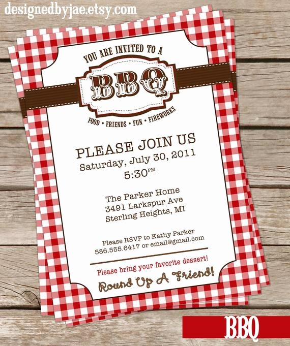 Potluck Bbq Invitation Wording New Items Similar to Bbq Party Western Barbecue Barbeque