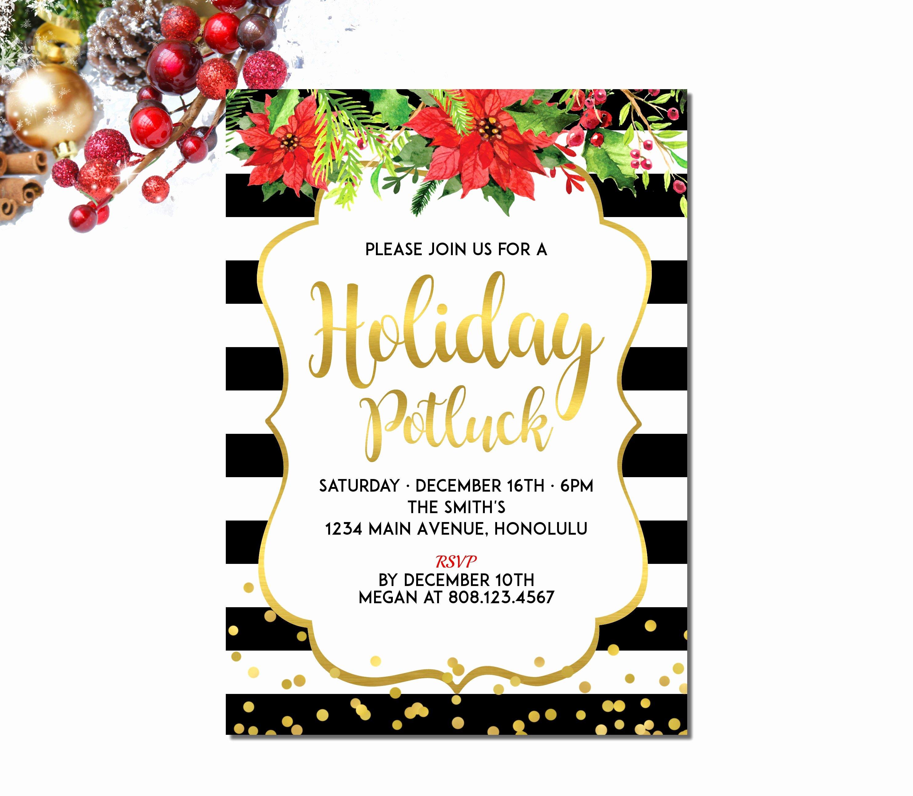 Potluck Party Invitation Wording Beautiful Christmas Potluck Invitation Holiday Potluck Invitation