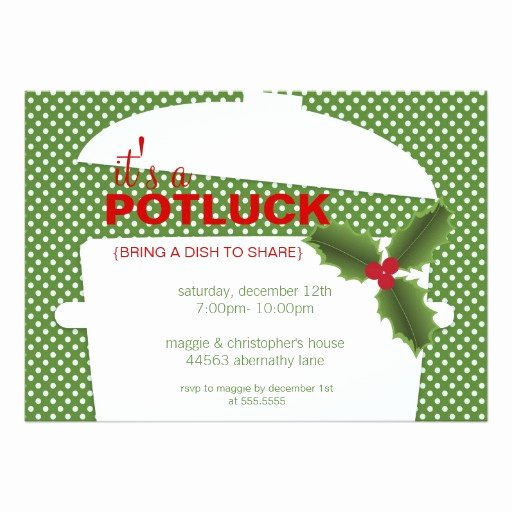 Potluck Party Invitation Wording Best Of Holiday Potluck Dinner Party Invitation Card