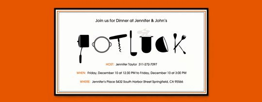 Potluck Party Invitation Wording Fresh top 5 Potluck Dishes Evite