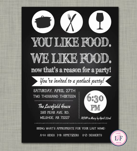 Potluck Party Invitation Wording Inspirational Chalkboard Pot Luck Party Invite Just because Party