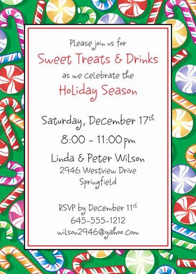 Potluck Party Invitation Wording Inspirational Christmas Candy Invitation