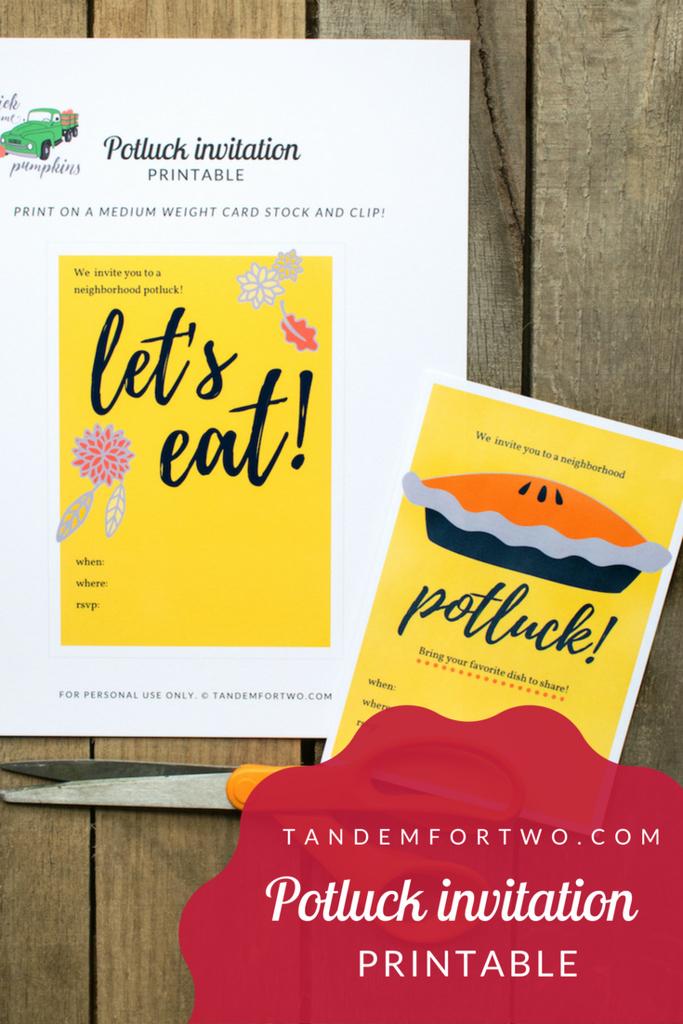 Potluck Party Invitation Wording Unique Freebie Potluck Invitation Printable – Tandem for Two
