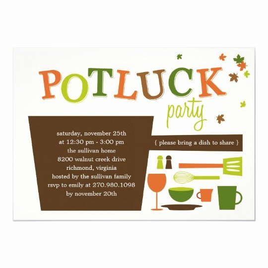 Potluck Party Invitations Wording Awesome Thanksgiving Potluck Party Invitation