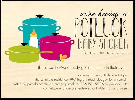 Potluck Party Invitations Wording Best Of Potluck Shower Great for Work Friends Baby Shower