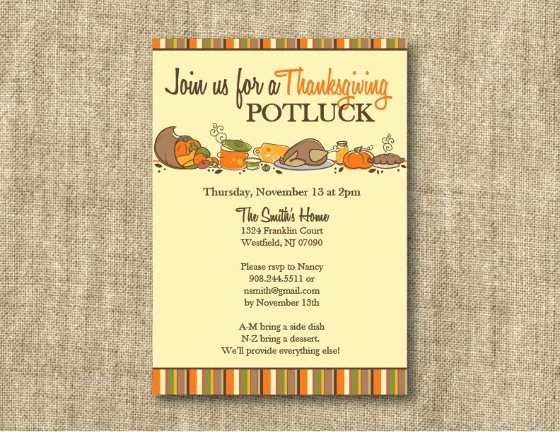 Potluck Party Invitations Wording Best Of Thanksgiving Invitations Wording with Bring A Dish