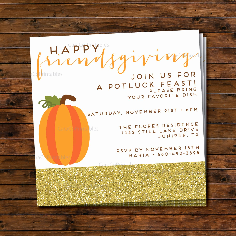 Potluck Party Invitations Wording Fresh Friendsgiving Thanksgiving Potluck Dinner Party Invitation